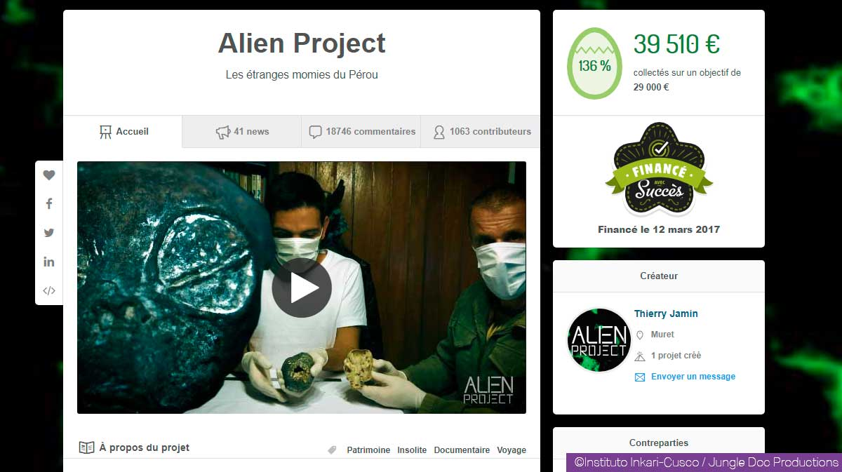Financement participatif Alien Project sur Ulule